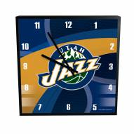 Utah Jazz Carbon Fiber Square Clock