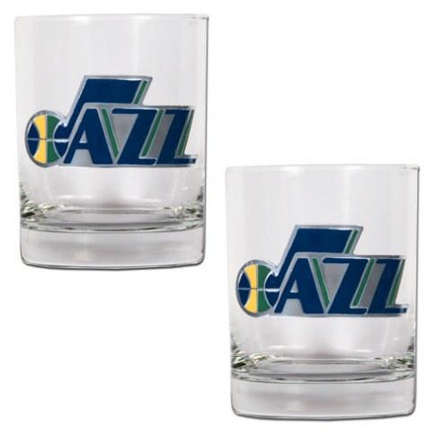 Utah Jazz NBA 2-Piece 14 Oz. Rocks Glass Set