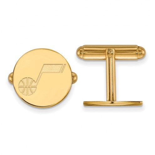 Utah Jazz Sterling Silver Gold Plated Cuff Links