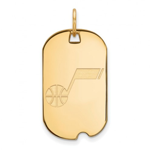 Utah Jazz Sterling Silver Gold Plated Small Dog Tag