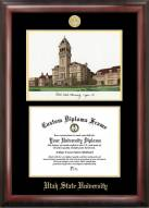 Utah State Aggies Gold Embossed Diploma Frame with Campus Images Lithograph