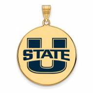 Utah State Aggies Sterling Silver Gold Plated Extra Large Enameled Disc Pendant
