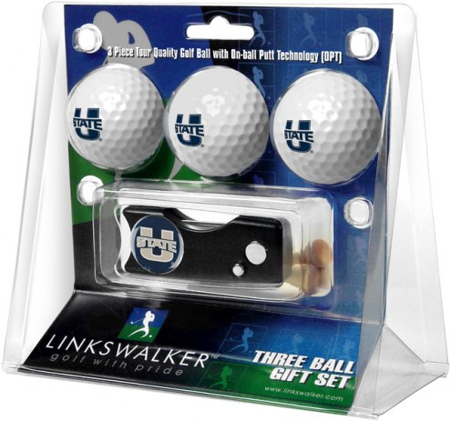 Utah State Aggies Golf Ball Gift Pack with Spring Action Divot Tool
