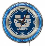 Utah State Aggies Neon Clock