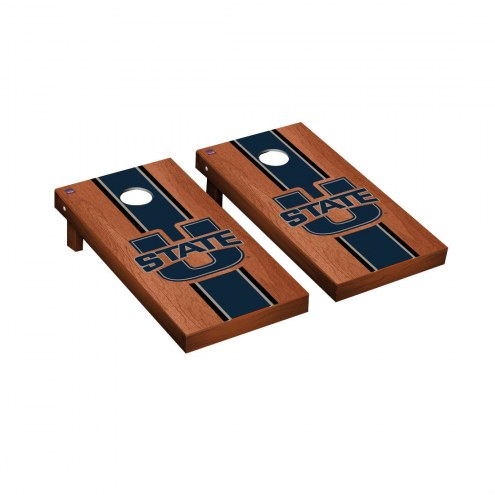 Utah State Aggies Rosewood Stained Cornhole Game Set