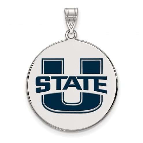 Utah State Aggies Sterling Silver Extra Large Enameled Disc Pendant