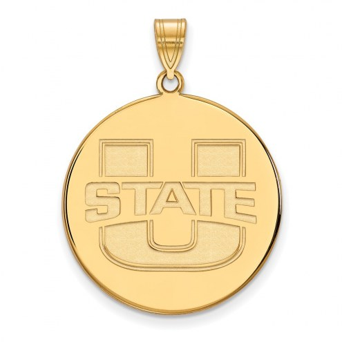 Utah State Aggies Sterling Silver Gold Plated Extra Large Disc Pendant