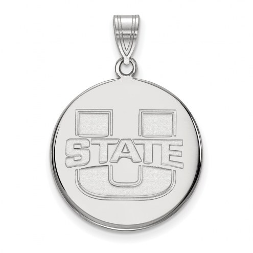 Utah State Aggies Sterling Silver Large Disc Pendant