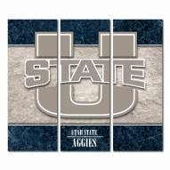 Utah State Aggies Triptych Double Border Canvas Wall Art