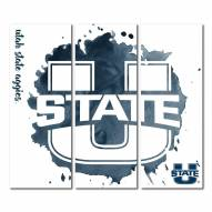 Utah State Aggies Triptych Watercolor Canvas Wall Art