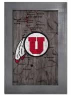 """Utah Utes 11"""" x 19"""" City Map Framed Sign"""