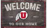 """Utah Utes 11"""" x 19"""" Welcome to Our Home Sign"""