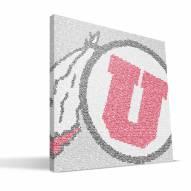 """Utah Utes 16"""" x 16"""" Typo Canvas Print"""
