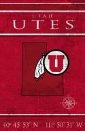 """Utah Utes 17"""" x 26"""" Coordinates Sign"""
