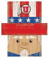 """Utah Utes 19"""" x 16"""" Patriotic Head"""
