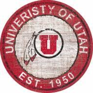 """Utah Utes 24"""" Heritage Logo Round Sign"""