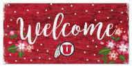 """Utah Utes 6"""" x 12"""" Floral Welcome Sign"""