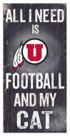 """Utah Utes 6"""" x 12"""" Football & My Cat Sign"""