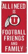 "Utah Utes 6"" x 12"" Friends & Family Sign"