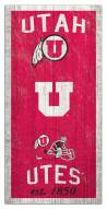 "Utah Utes 6"" x 12"" Heritage Sign"