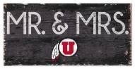 """Utah Utes 6"""" x 12"""" Mr. & Mrs. Sign"""