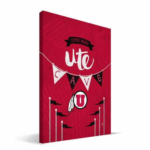 "Utah Utes 8"" x 12"" Little Man Canvas Print"