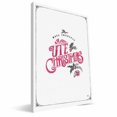 "Utah Utes 8"" x 12"" Merry Little Christmas Canvas Print"