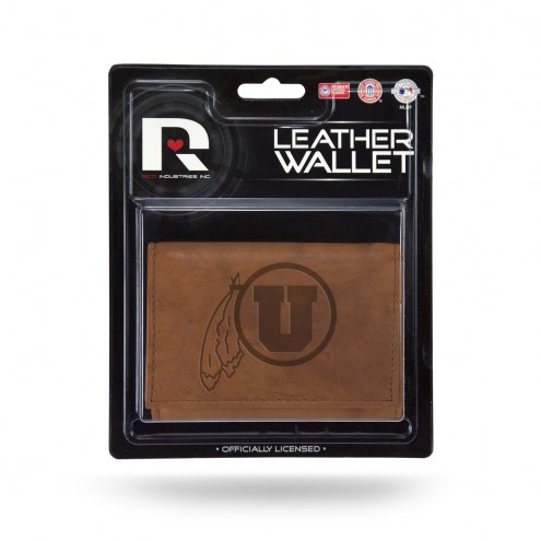 Utah Utes Brown Leather Trifold Wallet