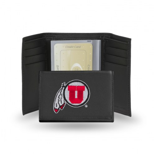Utah Utes College Embroidered Leather Tri-Fold Wallet