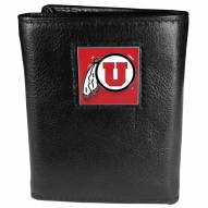 Utah Utes Deluxe Leather Tri-fold Wallet in Gift Box