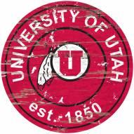 Utah Utes Distressed Round Sign