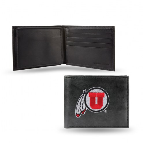 Utah Utes Embroidered Leather Billfold Wallet