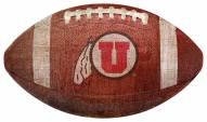 Utah Utes Football Shaped Sign