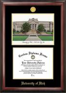 Utah Utes Gold Embossed Diploma Frame with Campus Images Lithograph