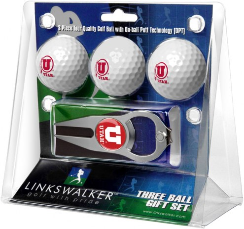 Utah Utes Golf Ball Gift Pack with Hat Trick Divot Tool