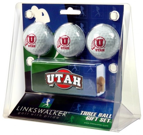 Utah Utes Golf Ball Gift Pack with Slider Clip