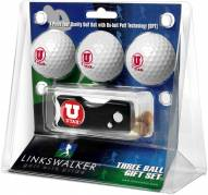Utah Utes Golf Ball Gift Pack with Spring Action Divot Tool