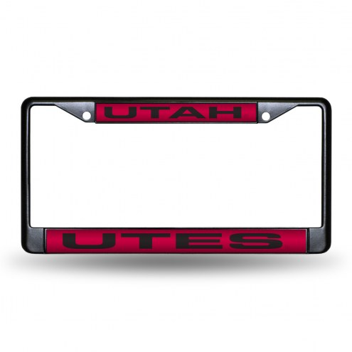 Utah Utes Laser Black License Plate Frame