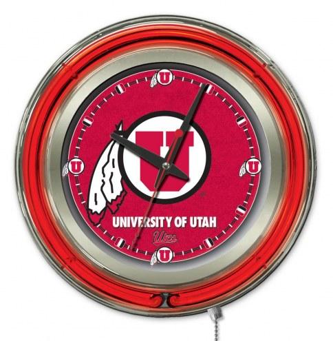 Utah Utes Neon Clock