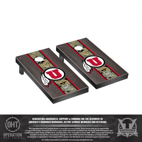 Utah Utes Operation Hat Trick Stained Cornhole Game Set