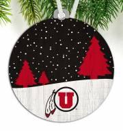 Utah Utes Snow Scene Ornament