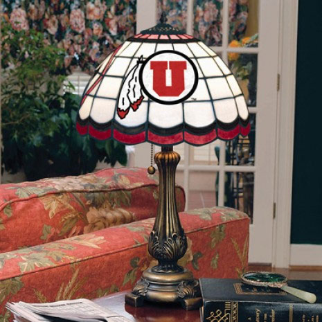 Utah Utes Stained Glass Tiffany Table Lamp