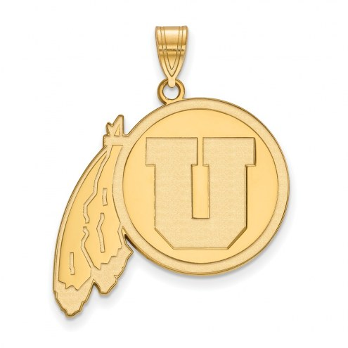 Utah Utes Sterling Silver Gold Plated Extra Large Pendant