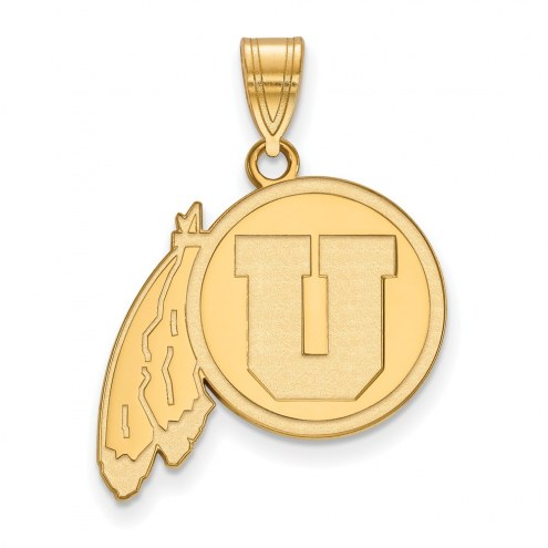 Utah Utes Sterling Silver Gold Plated Large Pendant