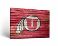 Utah Utes Weathered Canvas Wall Art
