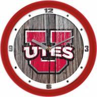 Utah Utes Weathered Wood Wall Clock