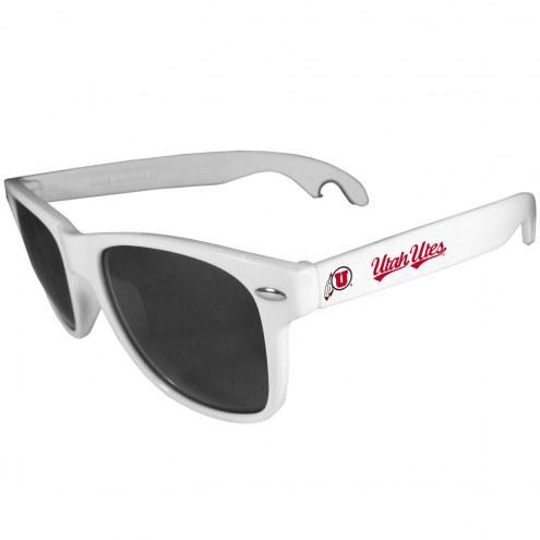 Utah Utes White Beachfarer Bottle Opener Sunglasses