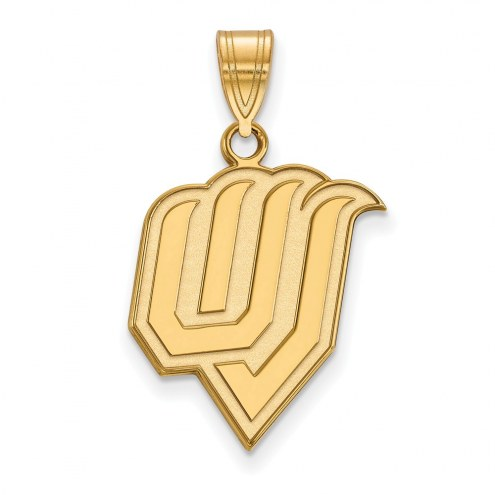 Utah Valley Wolverines Sterling Silver Gold Plated Large Pendant