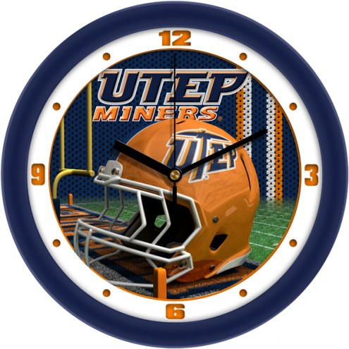 UTEP Miners Football Helmet Wall Clock