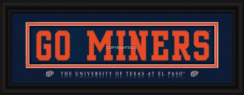 """UTEP Miners """"Go Miners"""" Stitched Jersey Framed Print"""